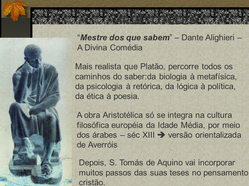 ARISTÓTELES Mestre dos que sabem – Dante Alighieri –