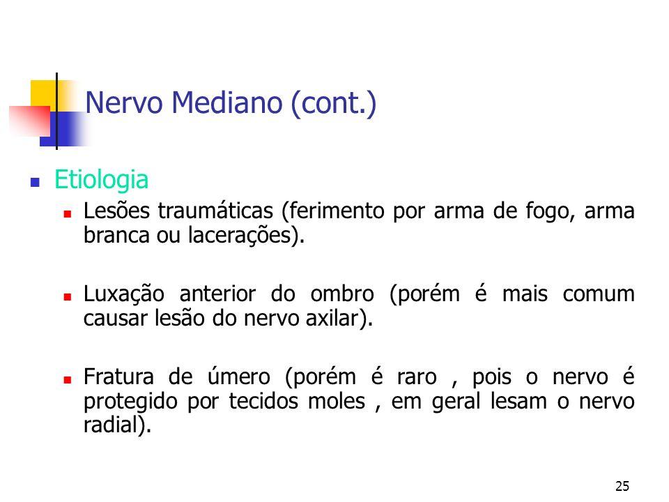 Nervo Mediano (cont.) Etiologia