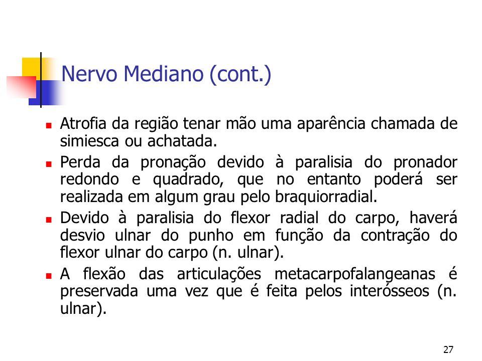 Nervo Mediano (cont.) Atrofia da região tenar mão uma aparência chamada de simiesca ou achatada.