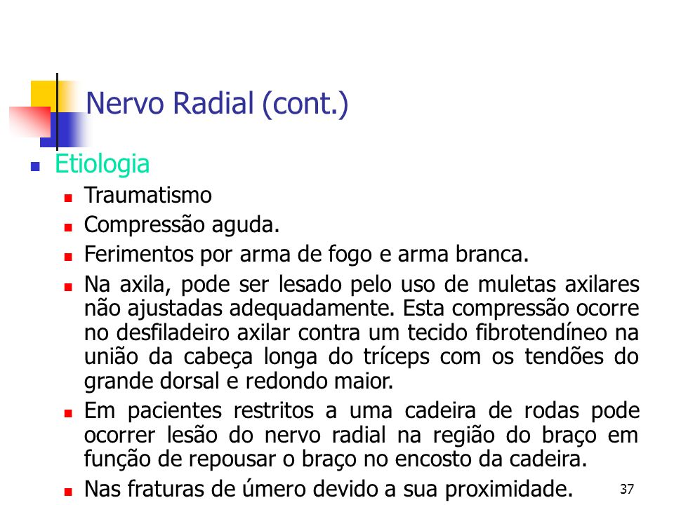 Nervo Radial (cont.) Etiologia Traumatismo Compressão aguda.