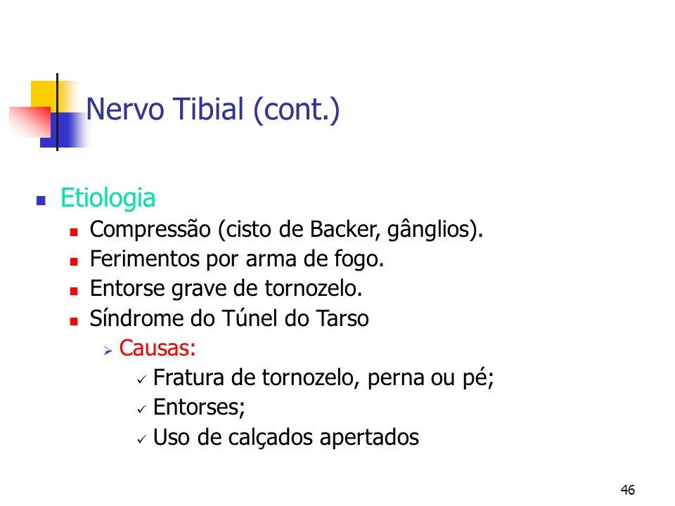 Nervo Tibial (cont.) Etiologia Compressão (cisto de Backer, gânglios).