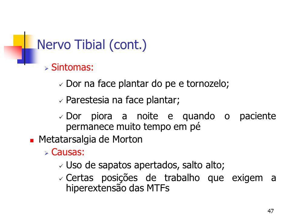 Nervo Tibial (cont.) Sintomas: Dor na face plantar do pe e tornozelo;