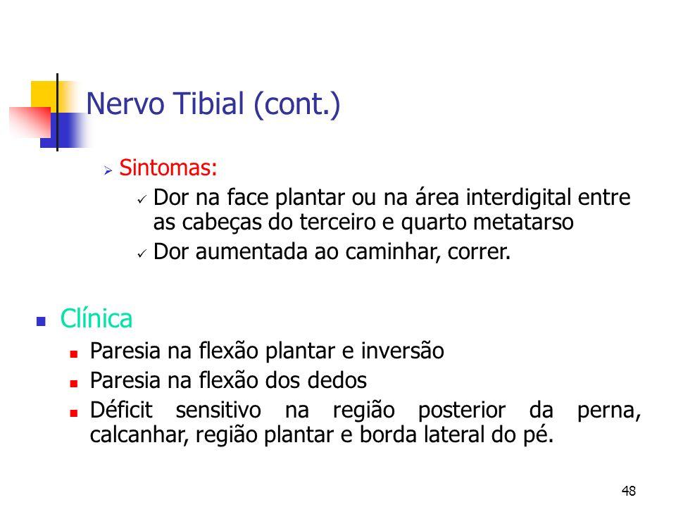 Nervo Tibial (cont.) Clínica Sintomas: