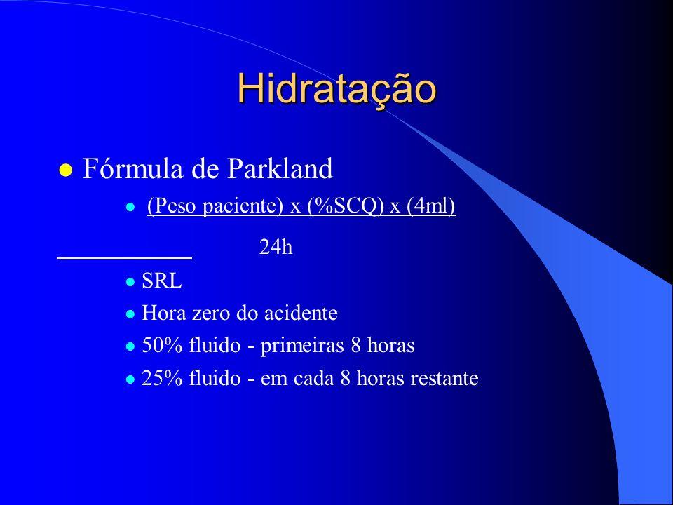 Hidratação Fórmula de Parkland 24h (Peso paciente) x (%SCQ) x (4ml)