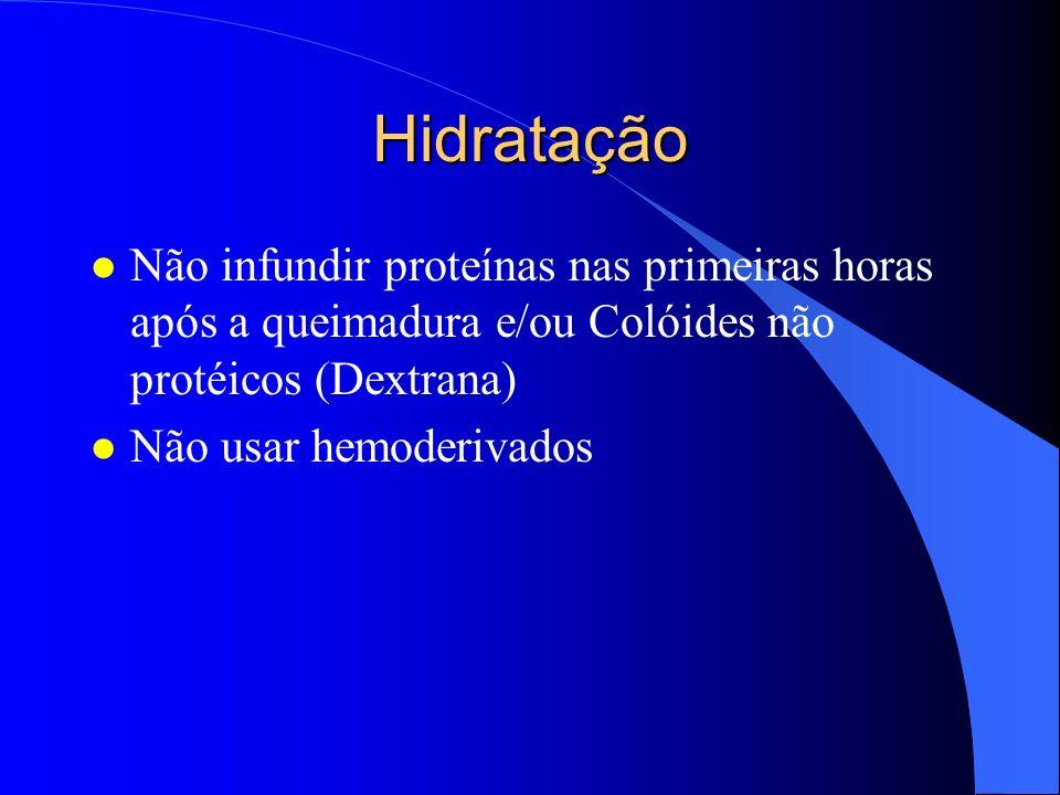Hidratação Não infundir proteínas nas primeiras horas após a queimadura e/ou Colóides não protéicos (Dextrana)