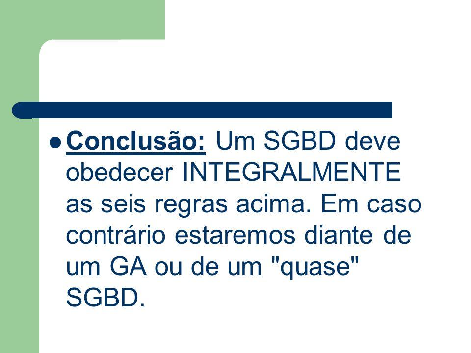 Conclusão: Um SGBD deve obedecer INTEGRALMENTE as seis regras acima