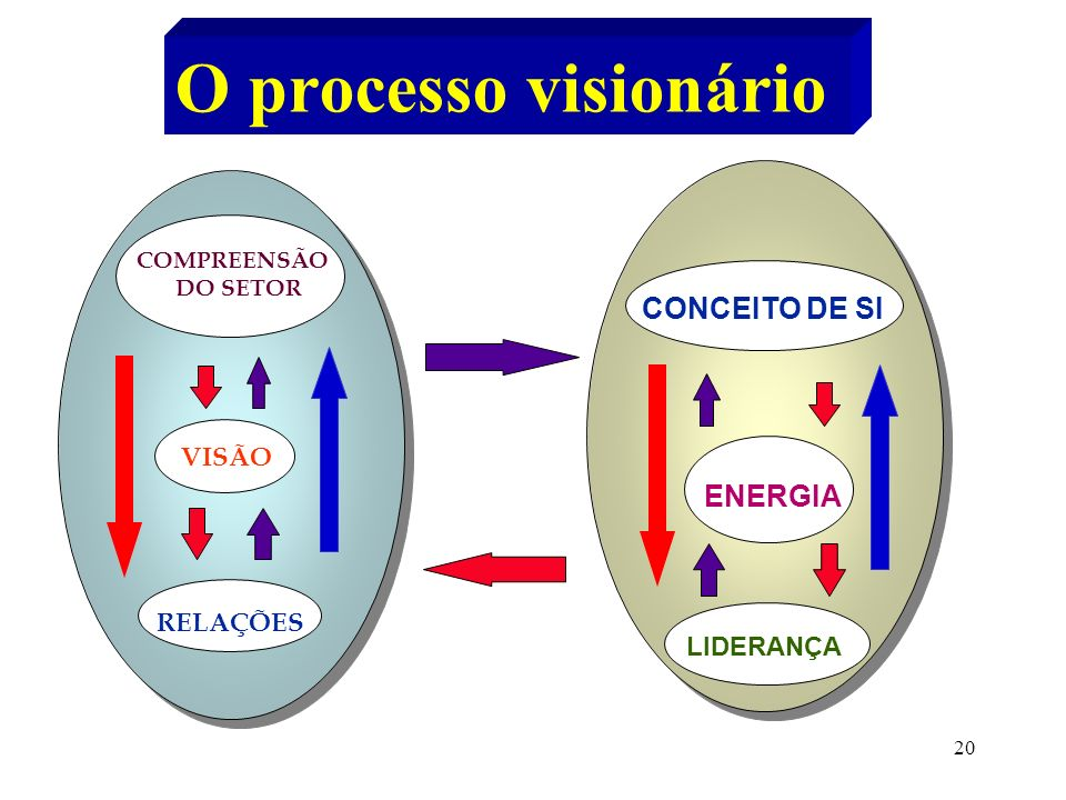 O processo visionário CONCEITO DE SI ENERGIA VISÃO RELAÇÕES LIDERANÇA