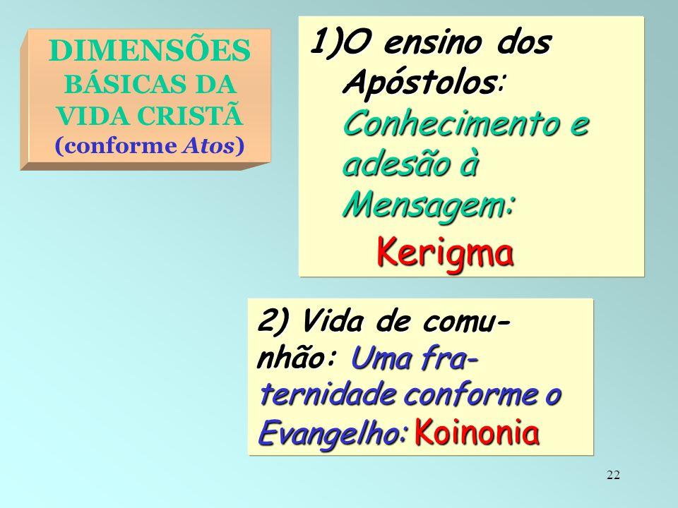 DIMENSÕES BÁSICAS DA VIDA CRISTÃ (conforme Atos)