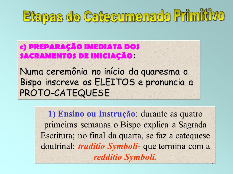 Etapas do Catecumenado Primitivo