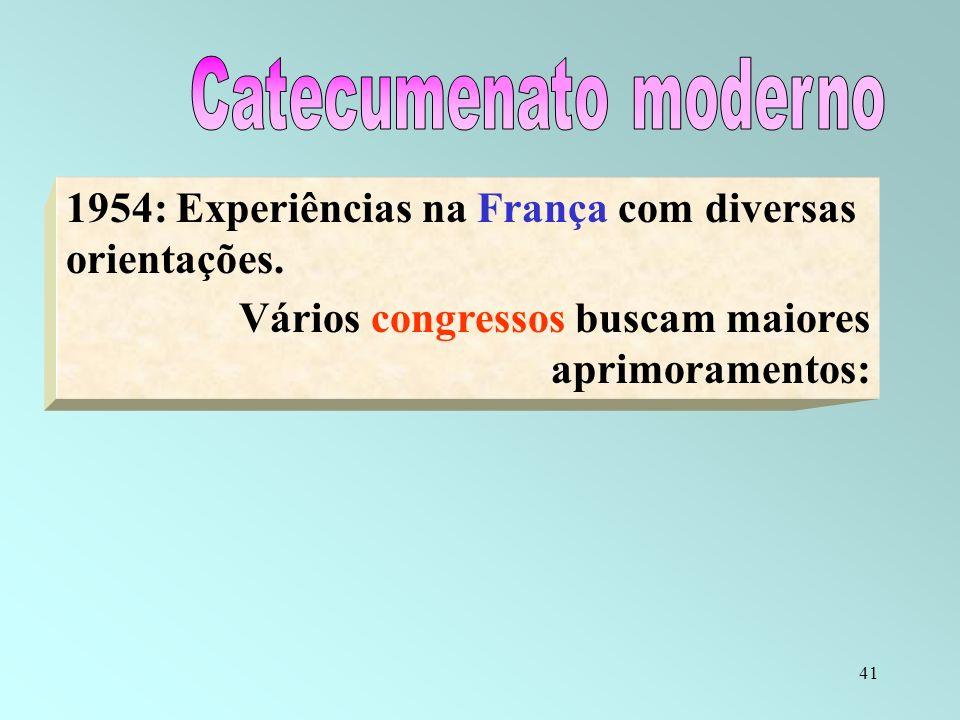 Catecumenato moderno 1954: Experiências na França com diversas orientações.