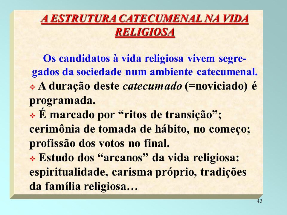 A ESTRUTURA CATECUMENAL NA VIDA RELIGIOSA