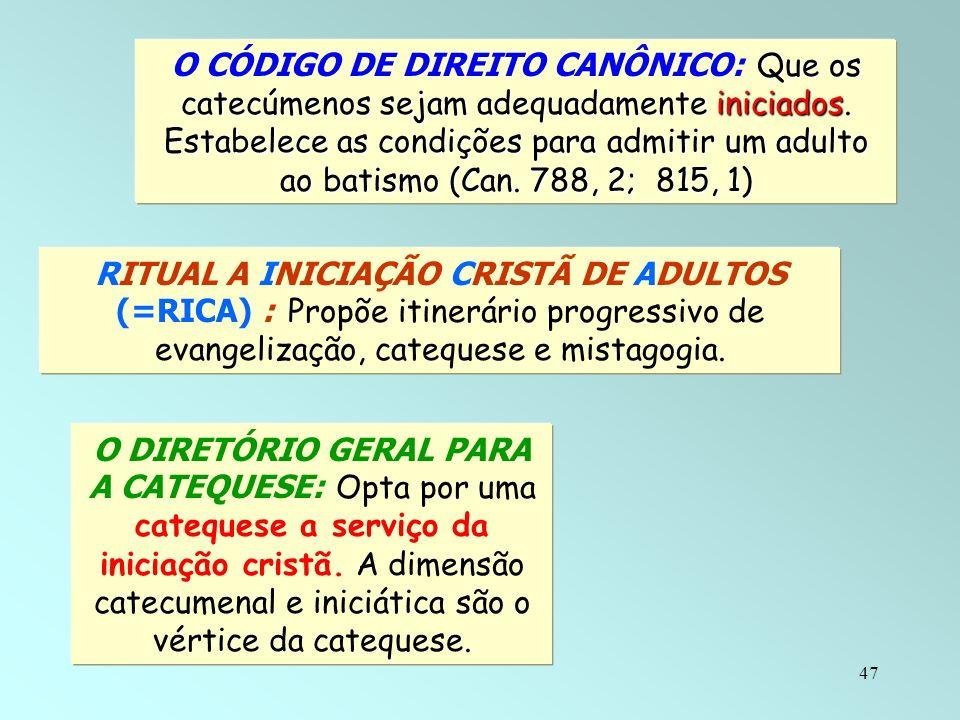 O CÓDIGO DE DIREITO CANÔNICO: Que os catecúmenos sejam adequadamente iniciados. Estabelece as condições para admitir um adulto ao batismo (Can. 788, 2; 815, 1)