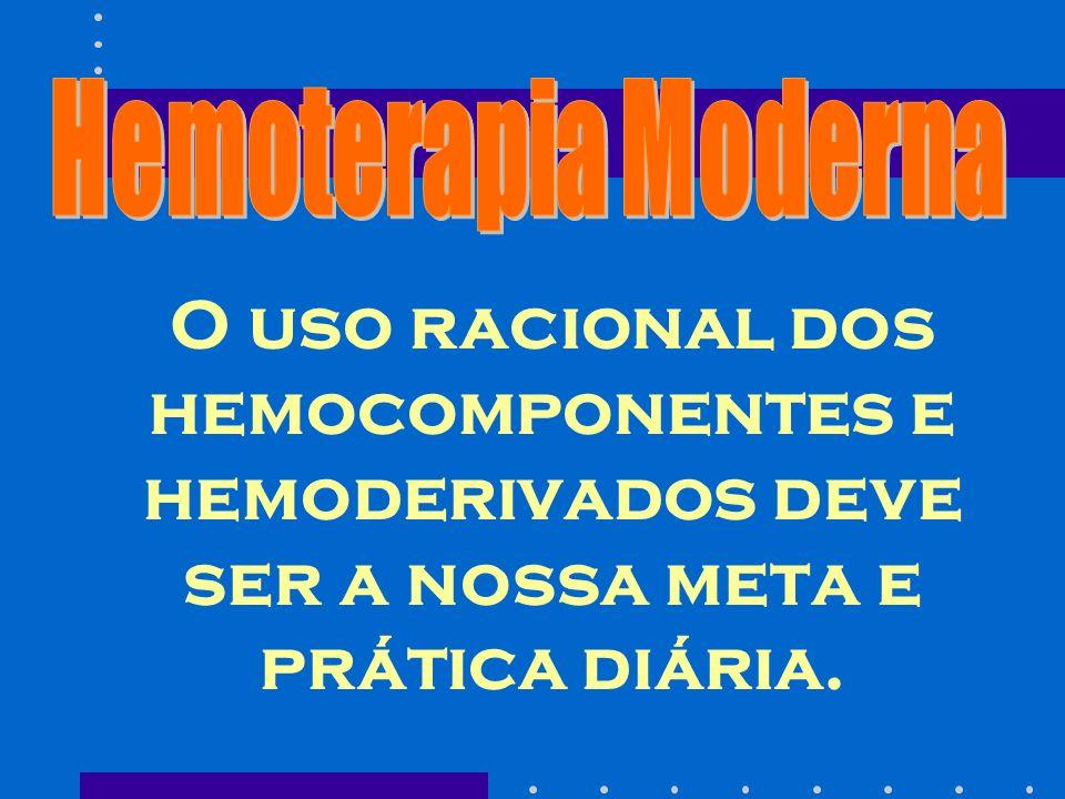 Hemoterapia Moderna O uso racional dos hemocomponentes e hemoderivados deve ser a nossa meta e prática diária.