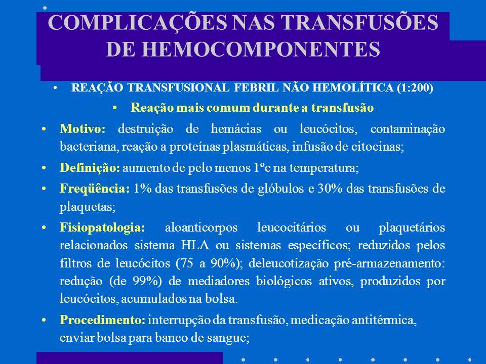 COMPLICAÇÕES NAS TRANSFUSÕES DE HEMOCOMPONENTES