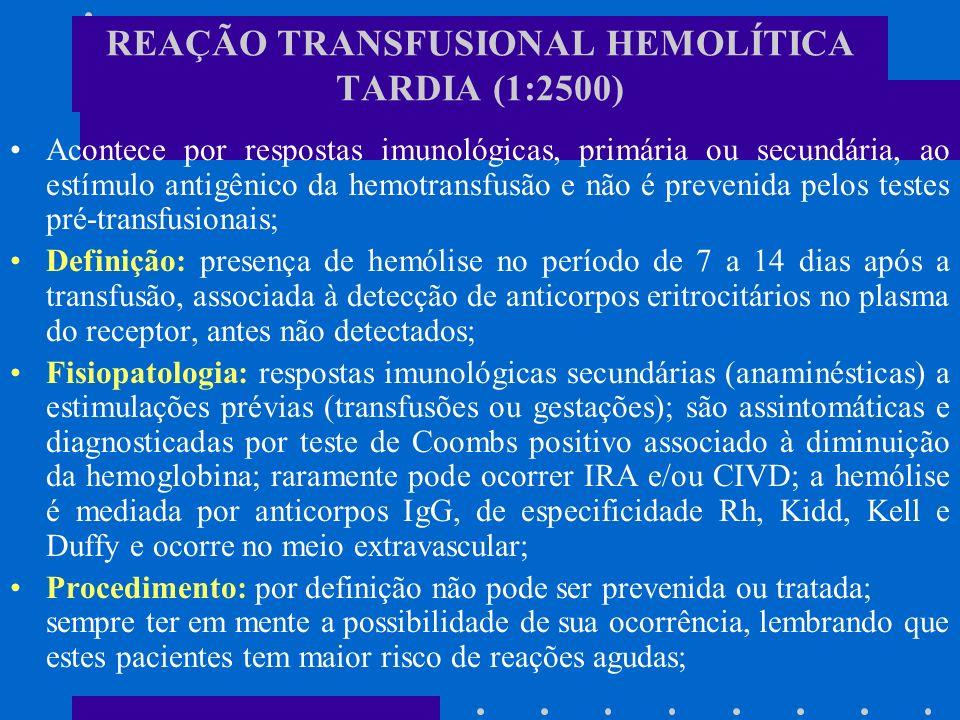 REAÇÃO TRANSFUSIONAL HEMOLÍTICA TARDIA (1:2500)