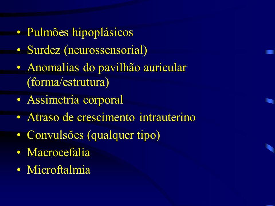 Pulmões hipoplásicos Surdez (neurossensorial) Anomalias do pavilhão auricular (forma/estrutura) Assimetria corporal.