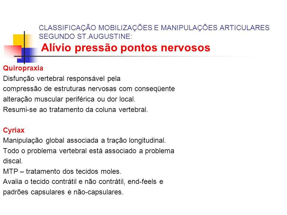 CLASSIFICAÇÃO MOBILIZAÇÕES E MANIPULAÇÕES ARTICULARES SEGUNDO ST