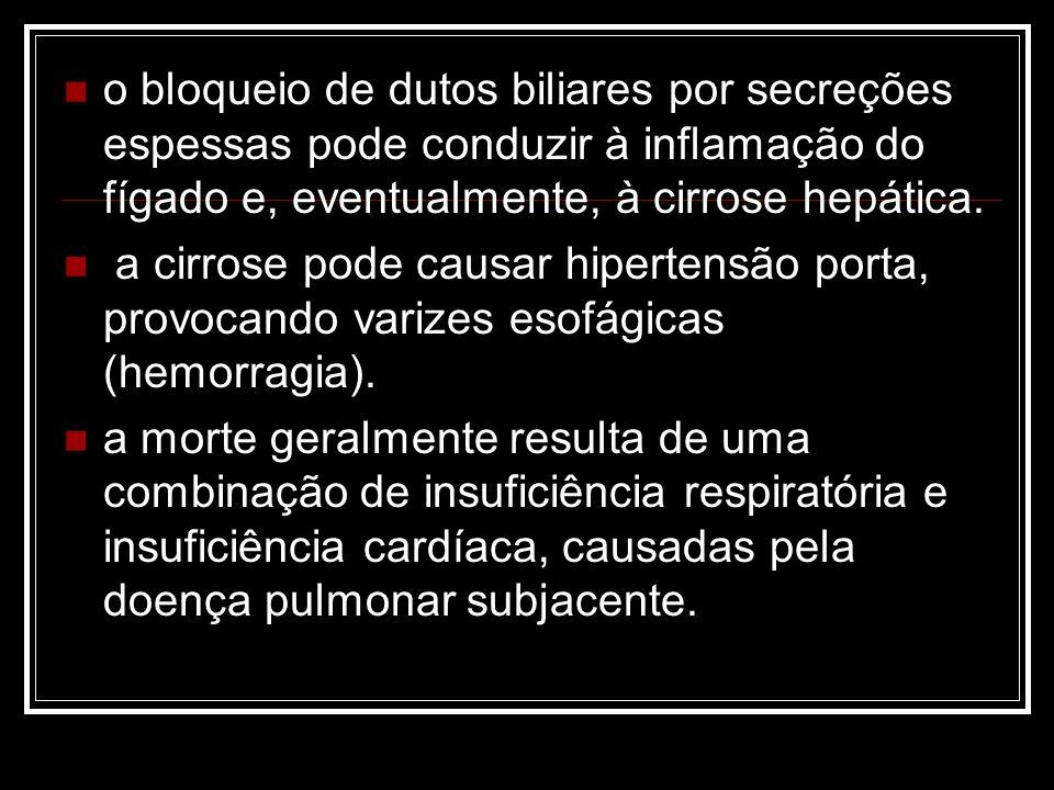 o bloqueio de dutos biliares por secreções espessas pode conduzir à inflamação do fígado e, eventualmente, à cirrose hepática.