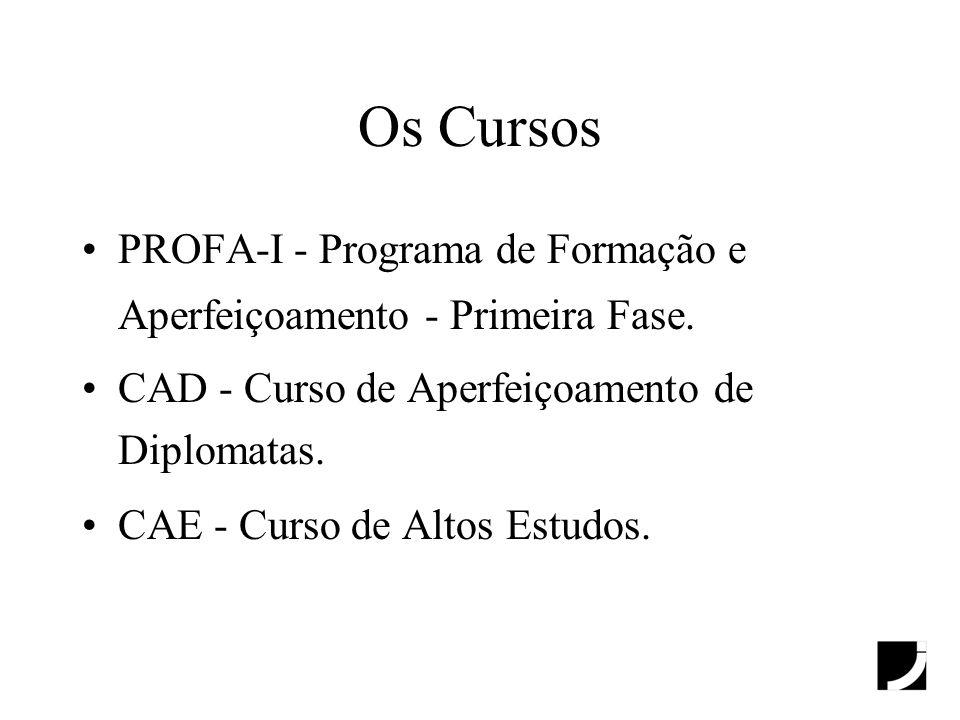 Os CursosPROFA-I - Programa de Formação e Aperfeiçoamento - Primeira Fase. CAD - Curso de Aperfeiçoamento de Diplomatas.