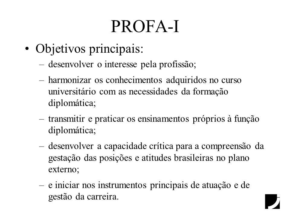 PROFA-I Objetivos principais: desenvolver o interesse pela profissão;