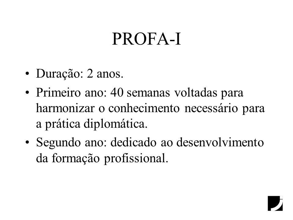 PROFA-I Duração: 2 anos. Primeiro ano: 40 semanas voltadas para harmonizar o conhecimento necessário para a prática diplomática.