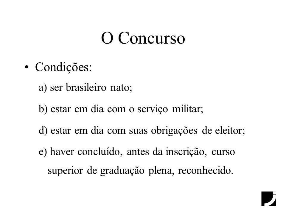 O Concurso Condições: a) ser brasileiro nato;