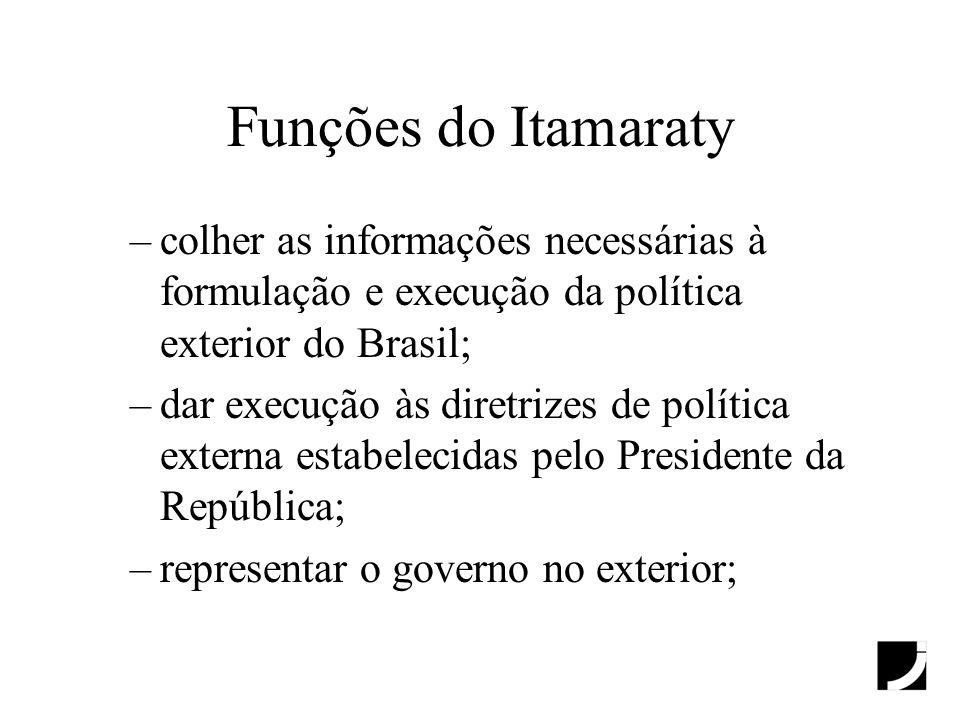 Funções do Itamaraty colher as informações necessárias à formulação e execução da política exterior do Brasil;