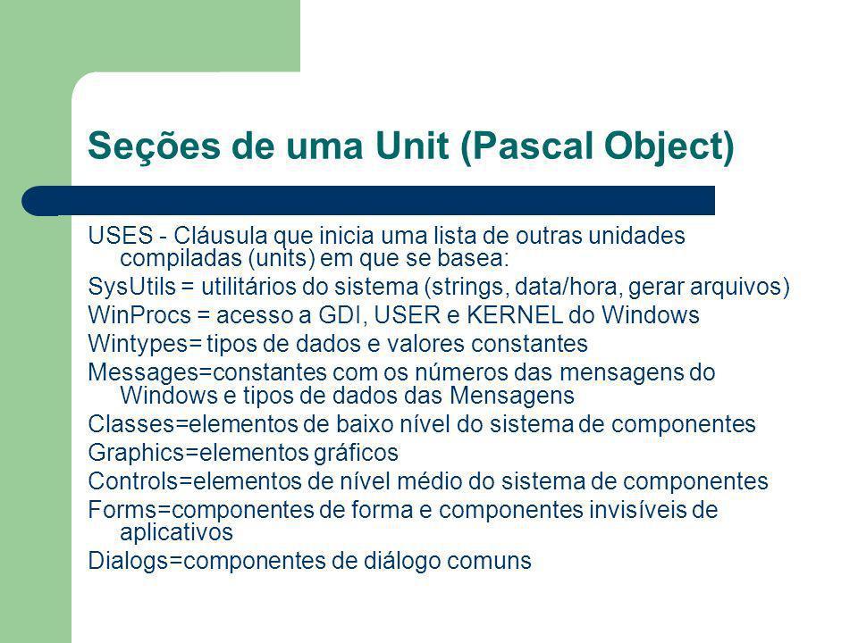 Seções de uma Unit (Pascal Object)