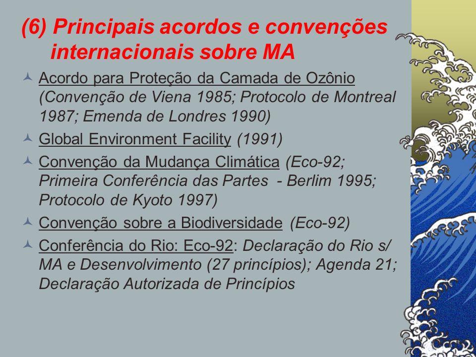 (6) Principais acordos e convenções internacionais sobre MA