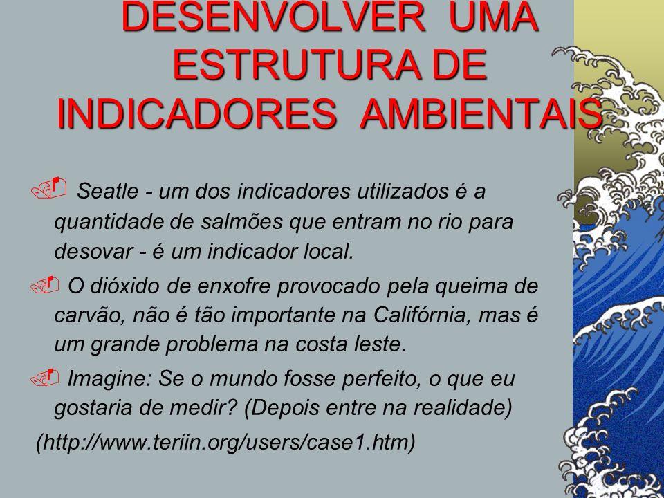 DESENVOLVER UMA ESTRUTURA DE INDICADORES AMBIENTAIS