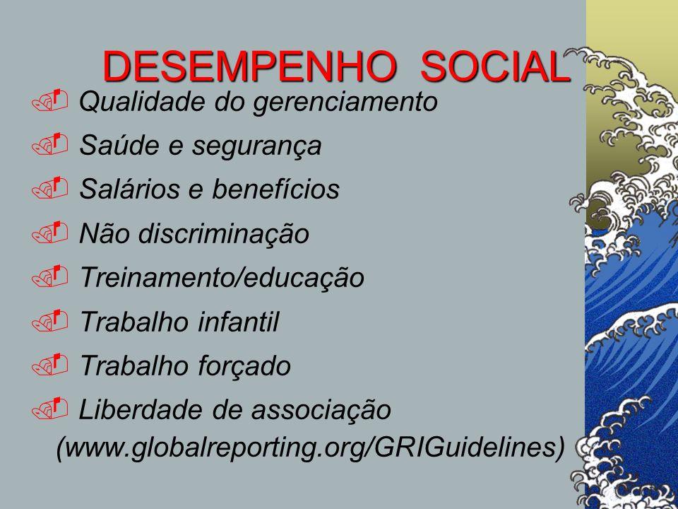 DESEMPENHO SOCIAL Qualidade do gerenciamento Saúde e segurança