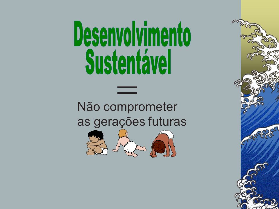 Desenvolvimento Sustentável = Não comprometer as gerações futuras
