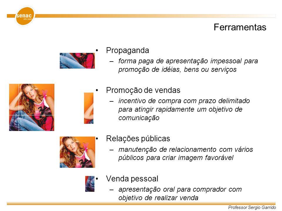 Ferramentas Propaganda Promoção de vendas Relações públicas