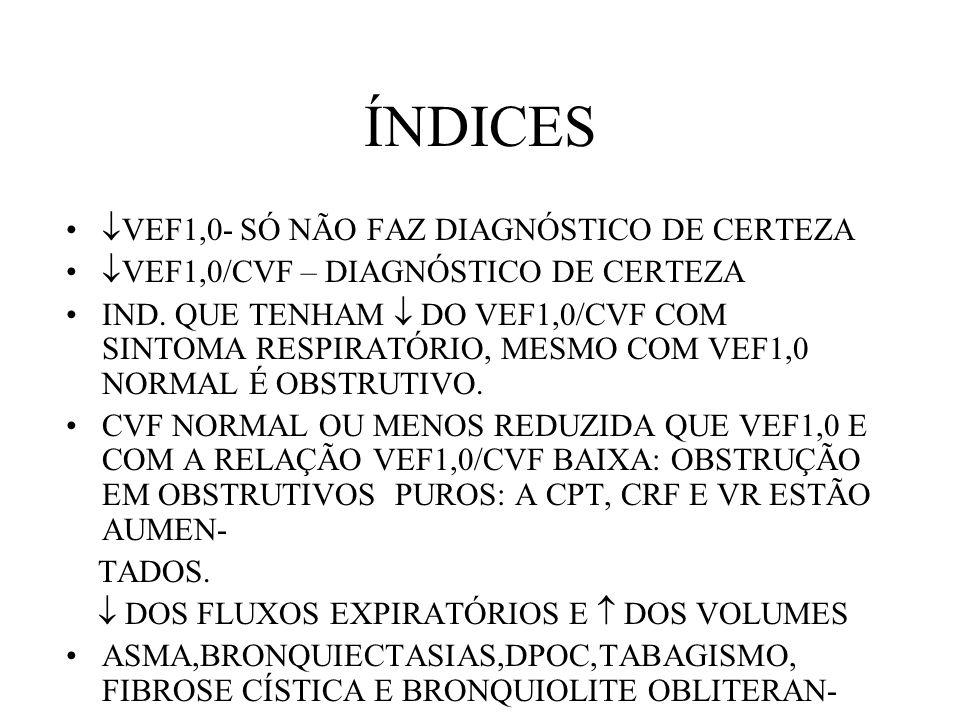 ÍNDICES VEF1,0- SÓ NÃO FAZ DIAGNÓSTICO DE CERTEZA