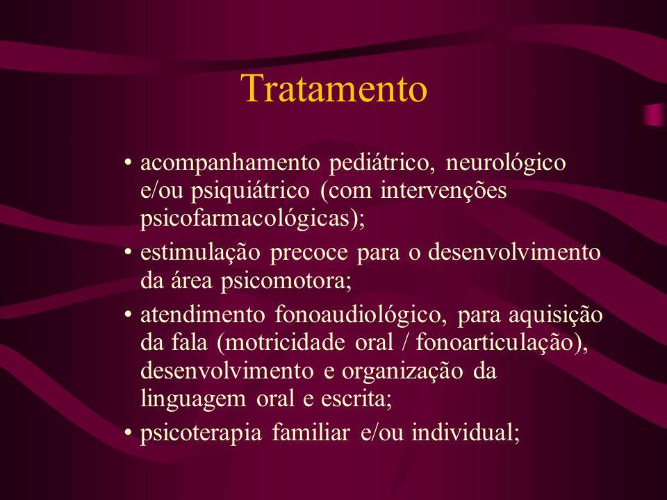 Tratamento acompanhamento pediátrico, neurológico e/ou psiquiátrico (com intervenções psicofarmacológicas);