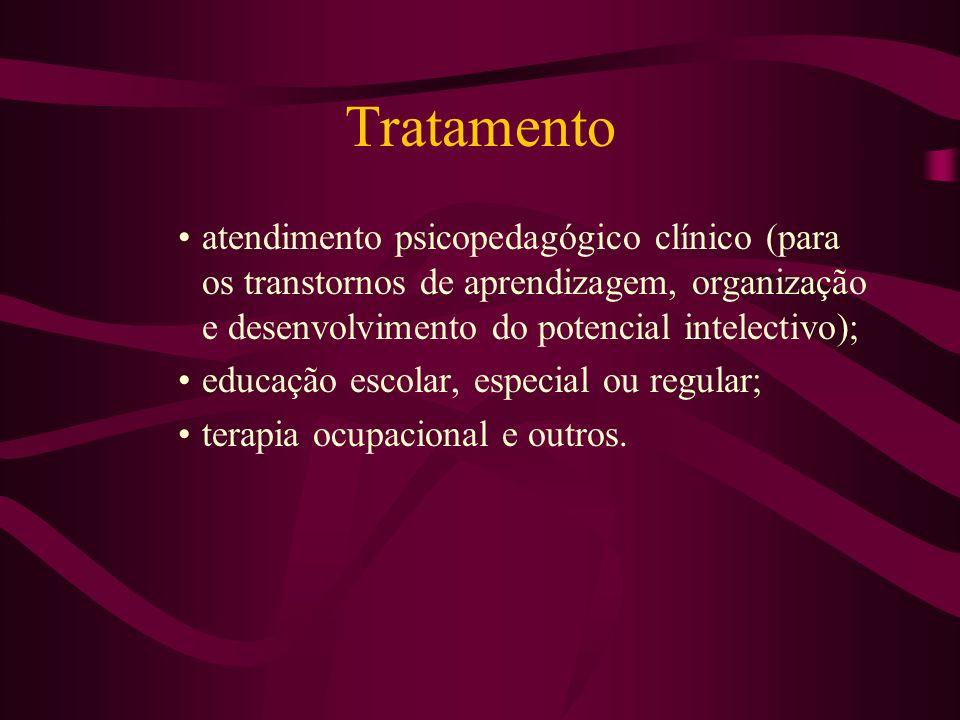 Tratamento atendimento psicopedagógico clínico (para os transtornos de aprendizagem, organização e desenvolvimento do potencial intelectivo);