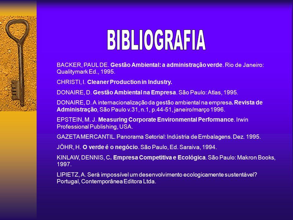 BIBLIOGRAFIA BACKER, PAUL DE. Gestão Ambiental: a administração verde. Rio de Janeiro: Qualitymark Ed., 1995.