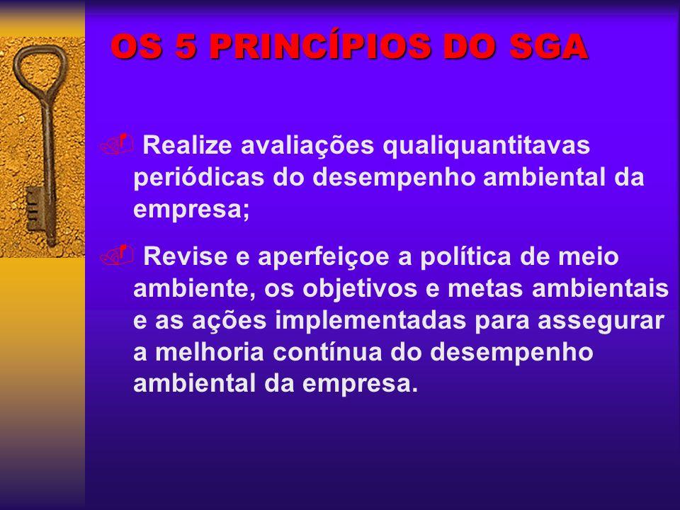 OS 5 PRINCÍPIOS DO SGA Realize avaliações qualiquantitavas periódicas do desempenho ambiental da empresa;