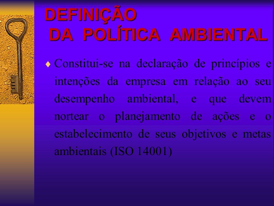 DEFINIÇÃO DA POLÍTICA AMBIENTAL