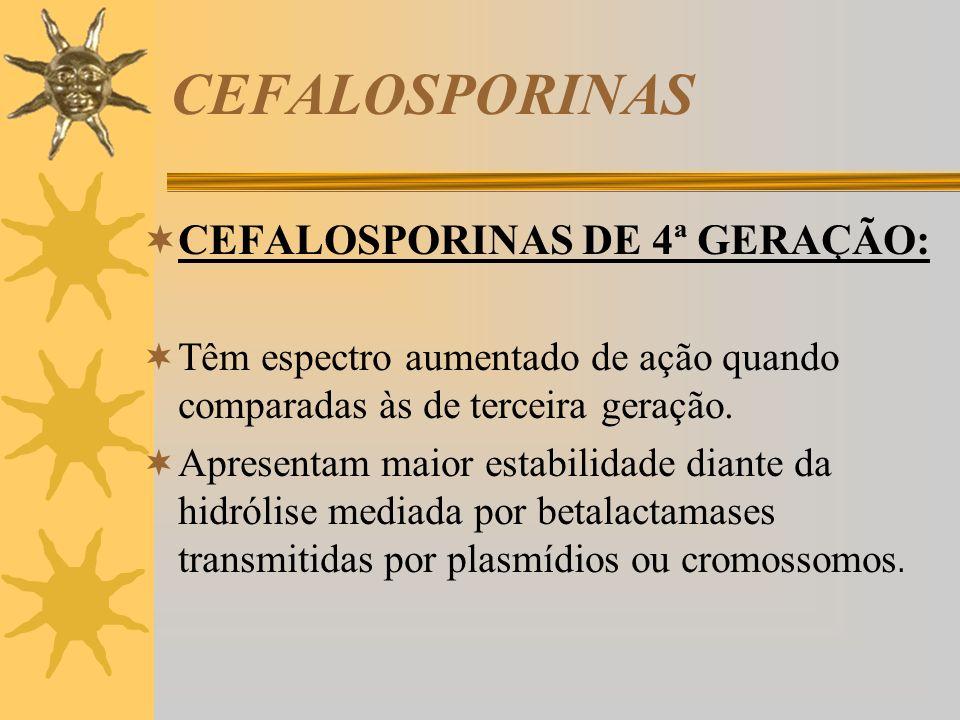 CEFALOSPORINAS CEFALOSPORINAS DE 4ª GERAÇÃO: