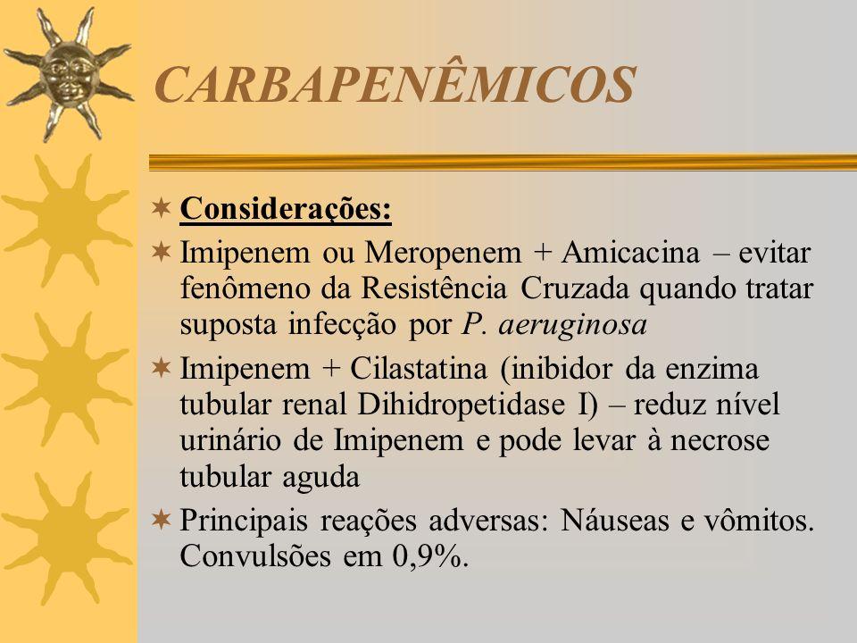CARBAPENÊMICOS Considerações: