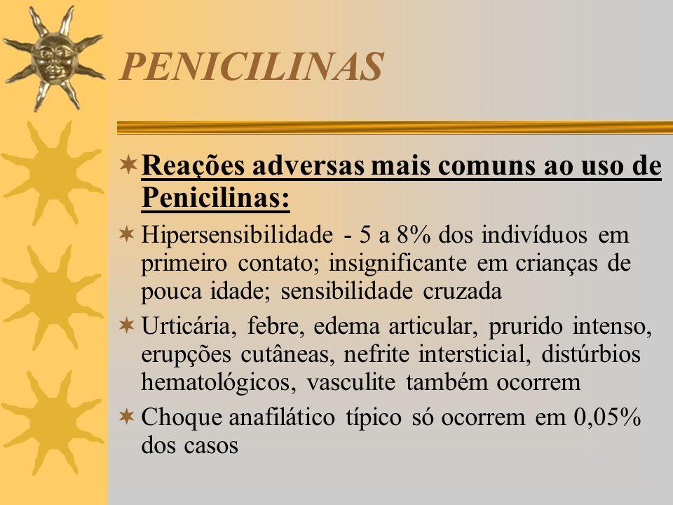 PENICILINAS Reações adversas mais comuns ao uso de Penicilinas:
