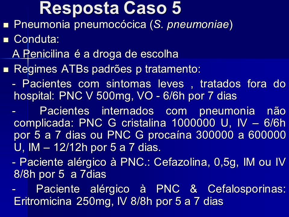 Resposta Caso 5 Pneumonia pneumocócica (S. pneumoniae) Conduta: