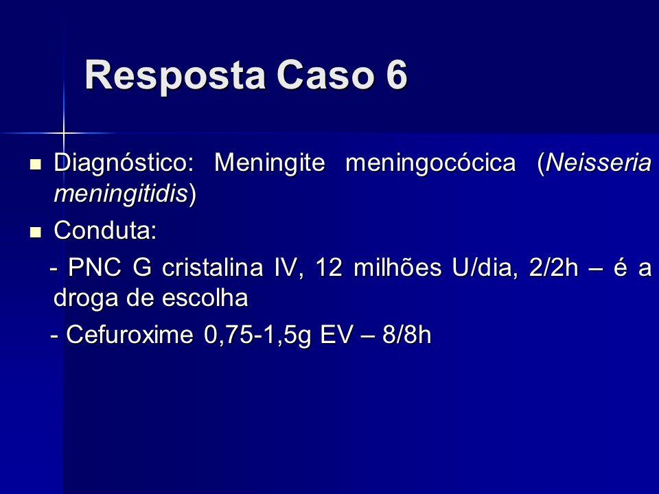 Resposta Caso 6 Diagnóstico: Meningite meningocócica (Neisseria meningitidis) Conduta: