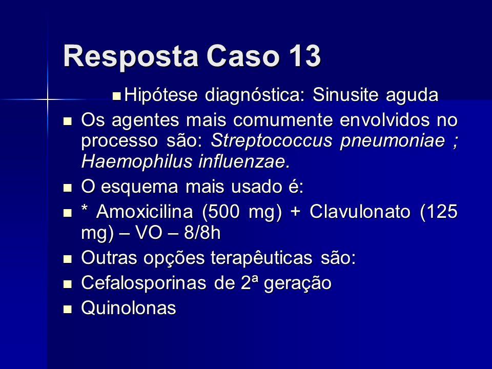 Resposta Caso 13 Hipótese diagnóstica: Sinusite aguda