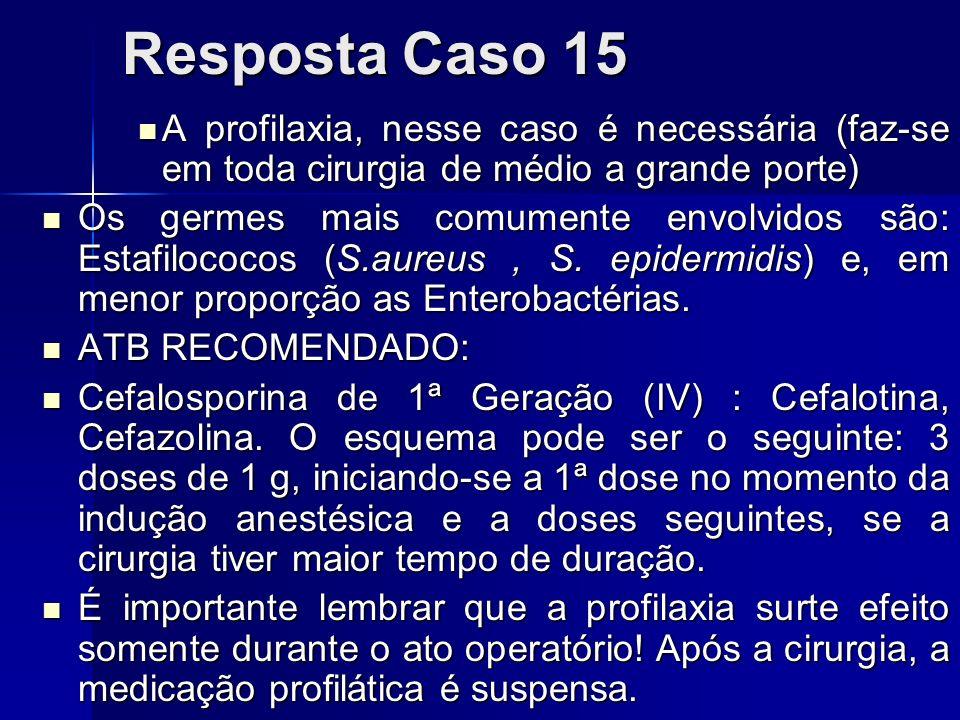 Resposta Caso 15A profilaxia, nesse caso é necessária (faz-se em toda cirurgia de médio a grande porte)