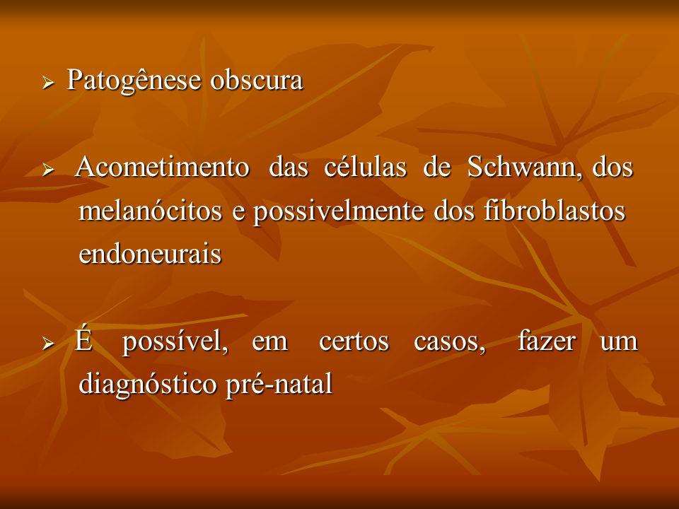 Patogênese obscura Acometimento das células de Schwann, dos. melanócitos e possivelmente dos fibroblastos.