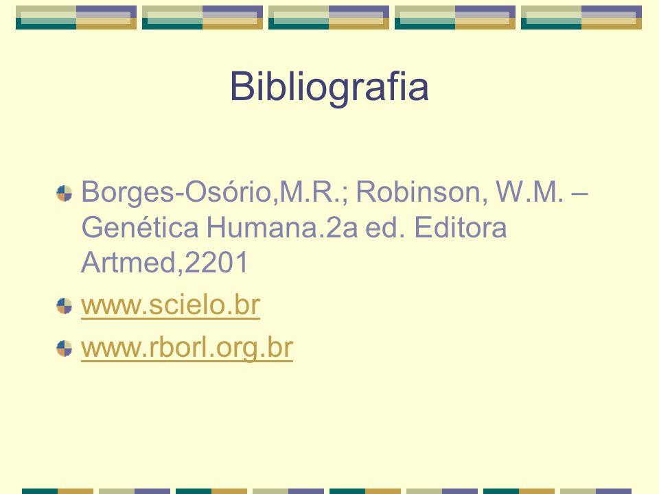 Bibliografia Borges-Osório,M.R.; Robinson, W.M. – Genética Humana.2a ed. Editora Artmed,2201. www.scielo.br.