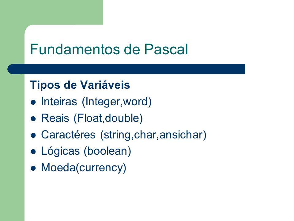 Fundamentos de Pascal Tipos de Variáveis Inteiras (Integer,word)