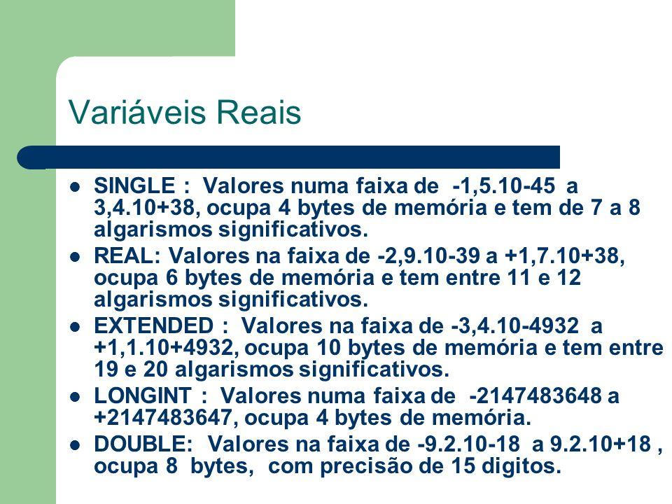 Variáveis Reais SINGLE : Valores numa faixa de -1,5.10-45 a 3,4.10+38, ocupa 4 bytes de memória e tem de 7 a 8 algarismos significativos.